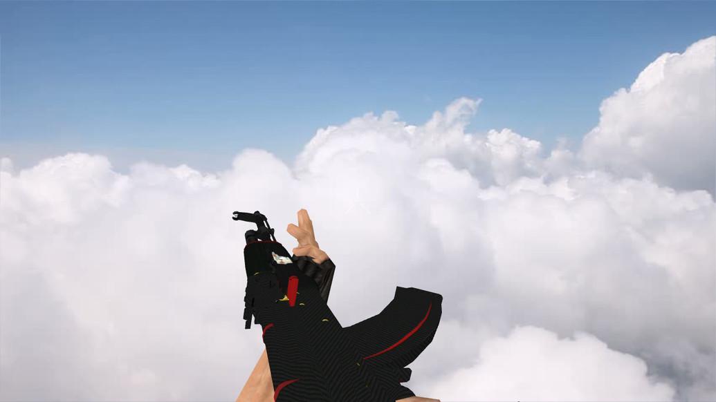 «АК-47 «Красная линия» с наклейками» для CS 1.6