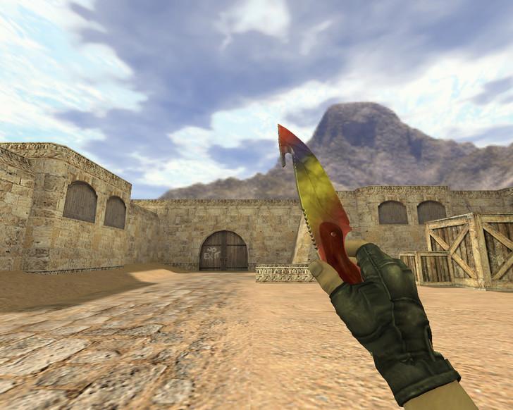 «Нож с лезвием-крюком Мраморный градиент» для CS 1.6