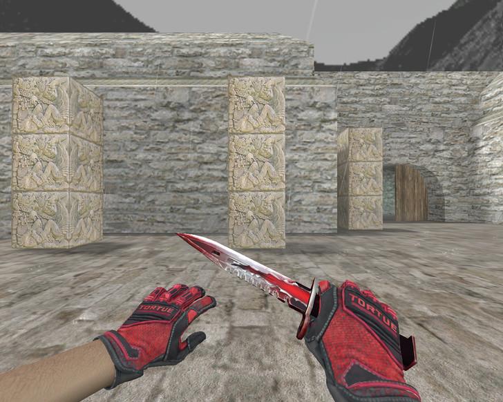 «Штык-нож М9 «Трещина» + «Перчатки спецназа | Кровавое кимоно»» для CS 1.6