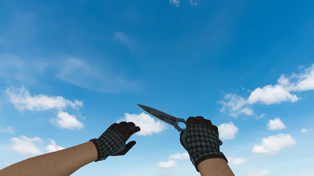«Скелетный нож «Ночная полоса» + Водительские перчатки «Лунный узор»» для CS 1.6