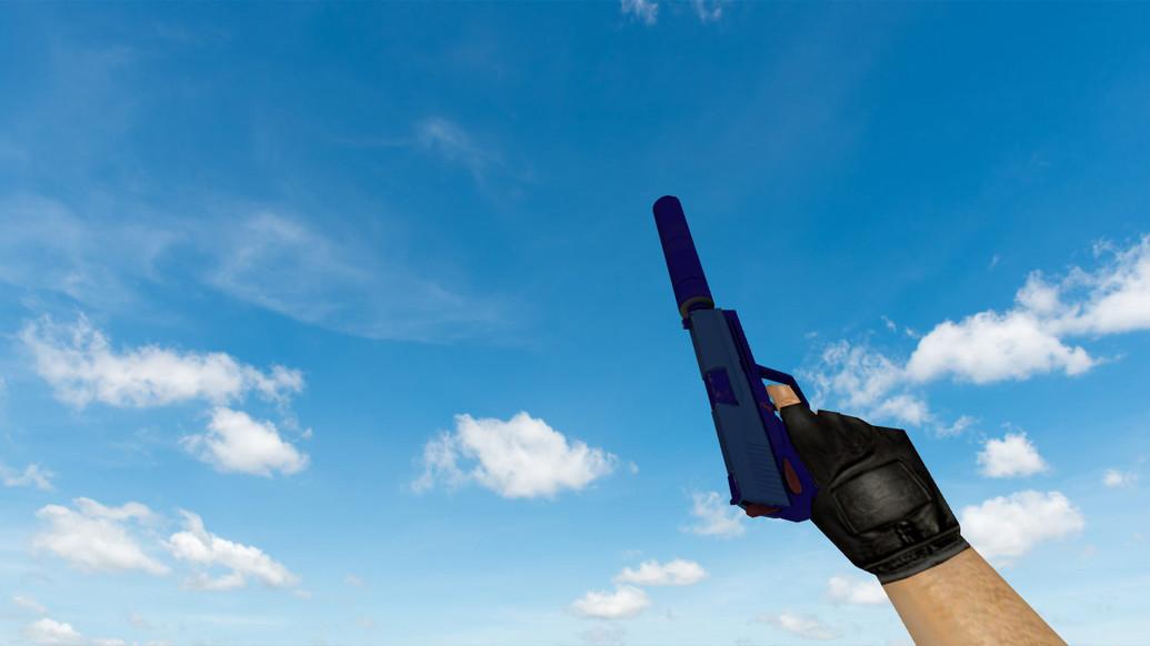 «USP «Королевский синий» с наклейками» для CS 1.6