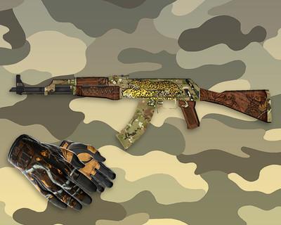 AK-47 Panthera Onca + Спортивные перчатки «Крупная добыча»