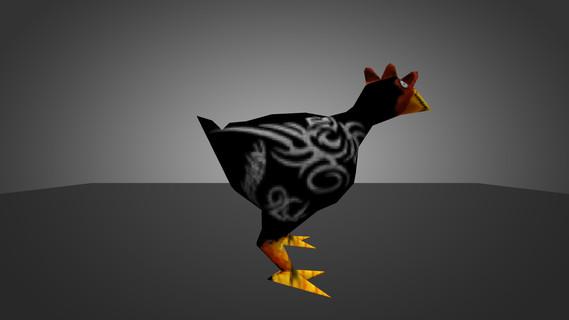 Chicken Black with Tattoo