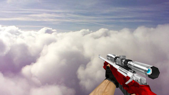 Default AWP Silver Red Camo