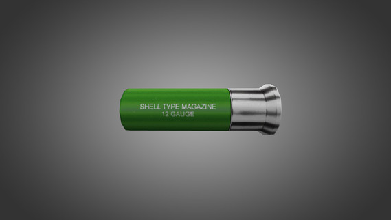 Green and Silver Shotgun Shell