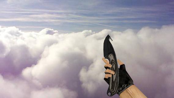 Нож с лезвием-крюком «Черный глянец»