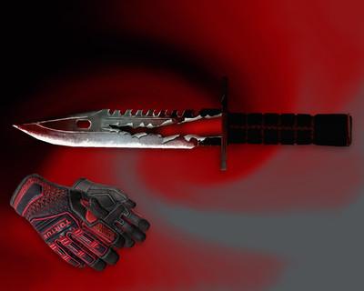 Штык-нож М9 «Трещина» + «Перчатки спецназа | Кровавое кимоно»